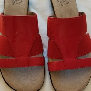 LifeStride Simply Comfort slide wedges, red patent